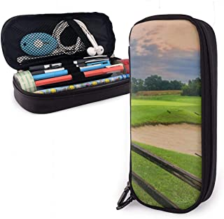 AKLID Sunset Golf Course PU Leather Pencil Case,Large Capacity Pen Bag,Durable Students Stationery Organizers with Double Zipper Elastic Belts for School Office 1.5in X 3.5 X 8 in