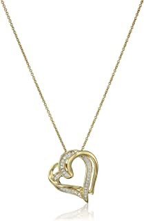Sterling Silver and Diamond Double Heart Pendant Necklace (1/10 cttw, I-J Color, I2-I3 Clarity), 18""