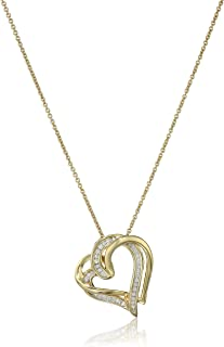 Sterling Silver and Diamond Double Heart Pendant Necklace (1/10 cttw, I-J Color, I2-I3 Clarity), 18