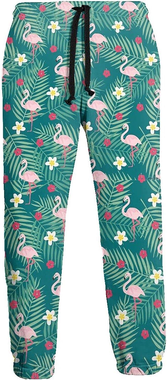 Mens Elastic Waist Sweatpants Pink Flowers Flamingos Palm Leaves Joggers Sweatpants for Gym Training Sport Pants