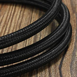 32.8ft Round 18/2 Rayon Covered Wire,HESSION Antique Industrial Electrical Cloth Cord,Vintage Style Lamp Cord strands(Black)