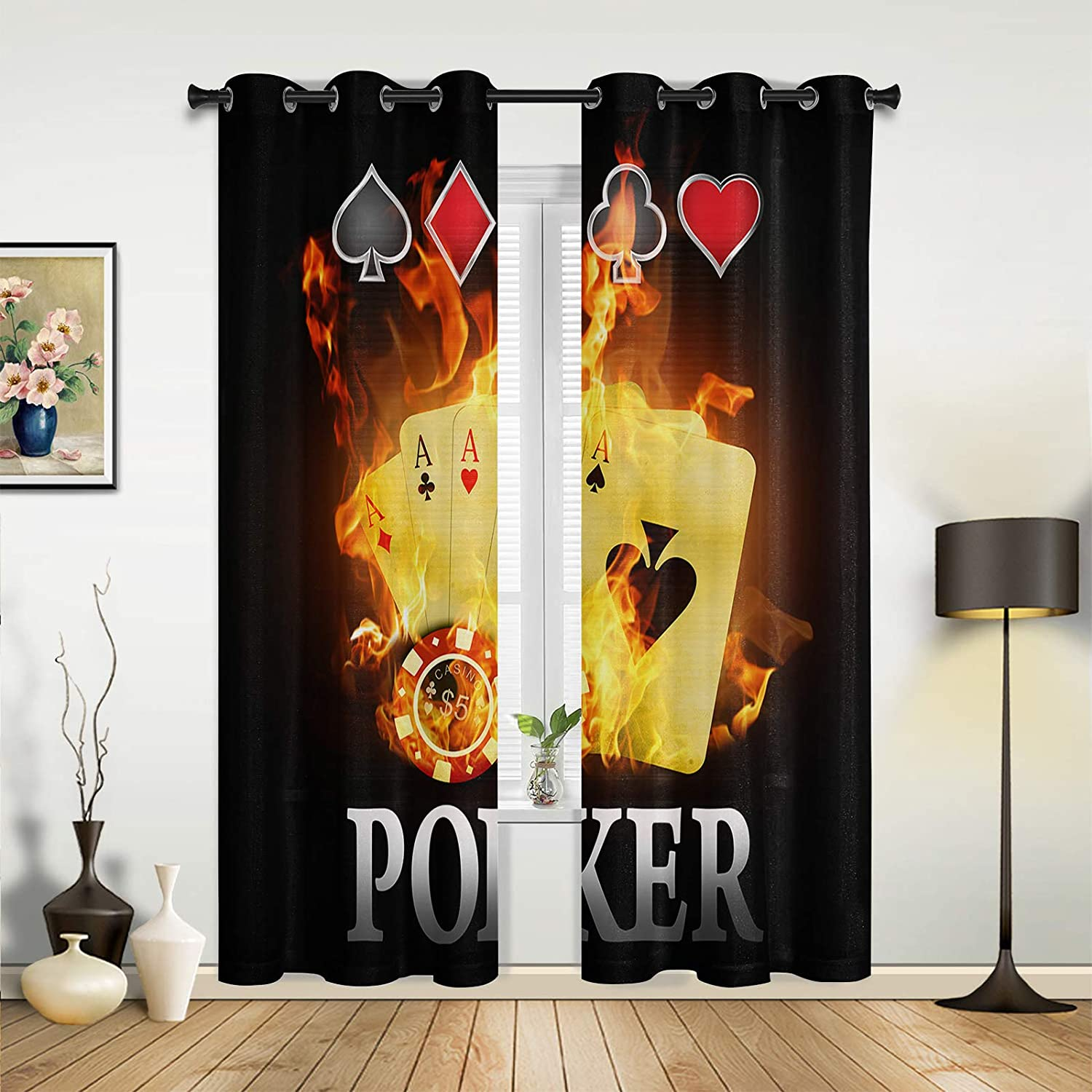 Window Curtains Drapes Panels Cool Nostalgic Old Cla Flame Poker Industry No. Classic 1