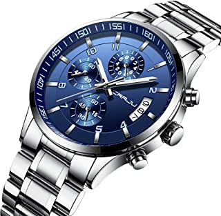 Men's Fashion Casual Quartz Watch Business Watches Men Stainless Steel Chronograph Wristwatch CJ-2214BU