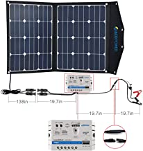 ACOPOWER 12V 70 Watt Foldable Solar Panel Kit; Portable Solar Charger Suitcase of 2x35W Monocrystalline Module & 5A Charge Controller for RV, Boats, Camping; w USB 5V Output as Phone Charger