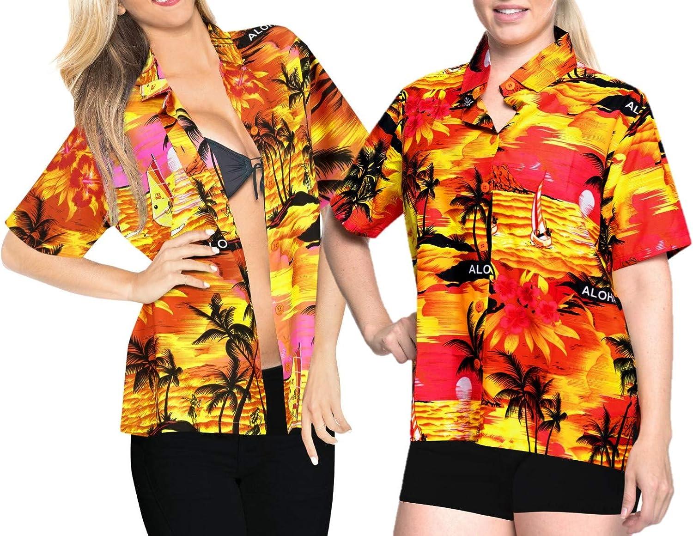 LA LEELA Women Genuine Hawaiian Super intense SALE Shirt Down Shortslee Casual Funky Button