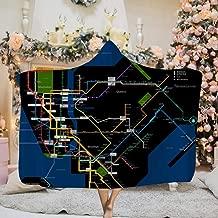 PLiPLi NYC Subway Late Night Map Hooded Blanket,3D Print Super Soft Blanket