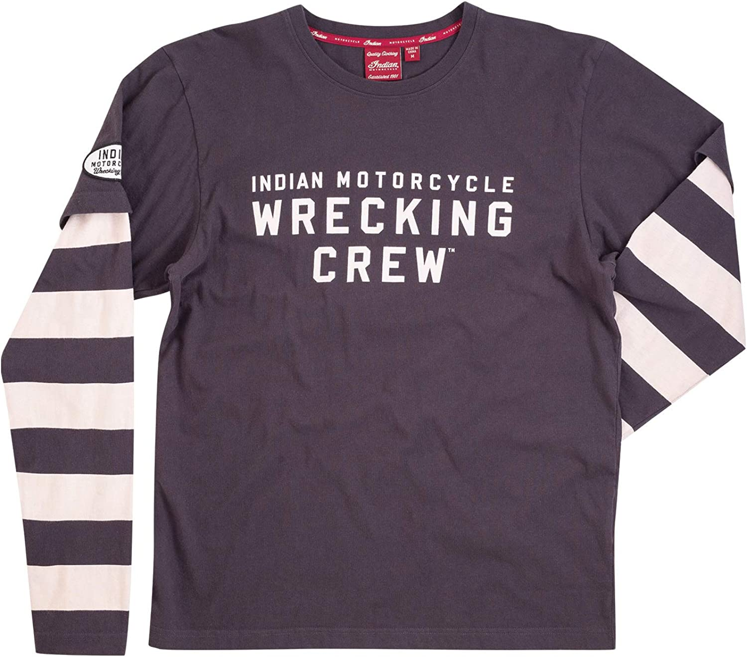 Indian Motorcycle Men's Long-Sleeve Wrecking Crew T-Shirt with Stripe, Gray