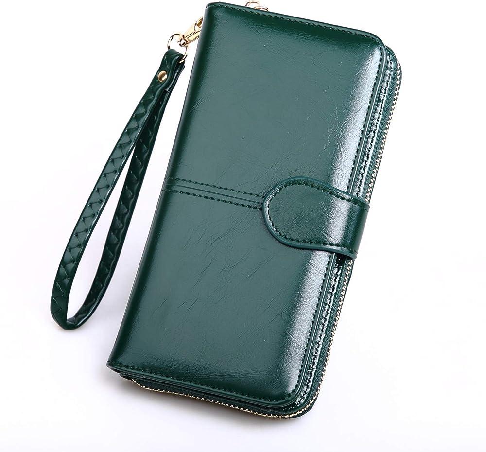 Y yongyuan portafoglio porta carte di credito per donna in ecopelle verde Malachite2