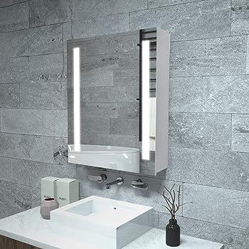Janboe Illuminated Bathroom Wall Cabinet With Shaver Socket Single Door Mirror Cabinet Bathroom Furniture For Small Bahthroom 50x70x13cm Amazon Co Uk Kitchen Home