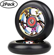 Kutrick Complete 2pcs 100mm Pro Stunt Scooter Replacement Wheels with ABEC-9 Bearing -Neo Chrome