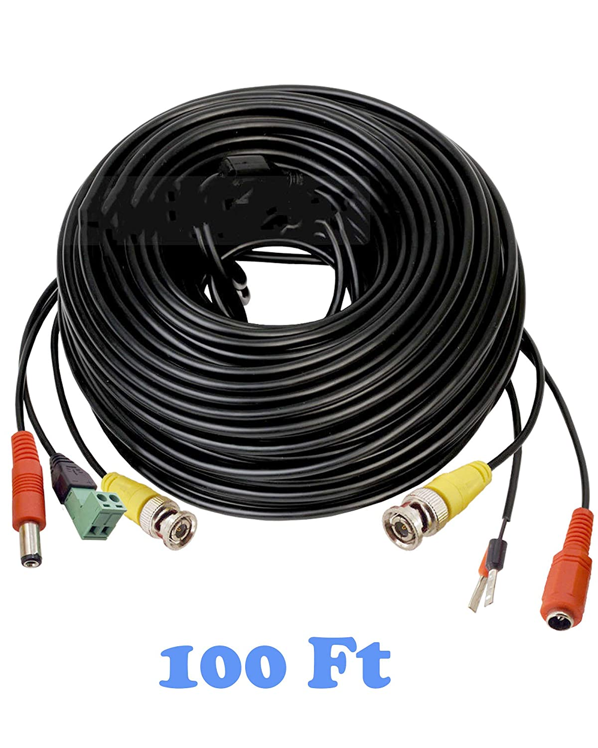 100Ft PTZ Power Video & RS-485 Control Cable Professional Extension for All PTZ Cameras Models, Black