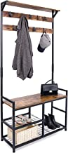 HOMEKOKO Coat Rack Shoe Bench, Hall Tree Entryway Storage Bench, Wood Look Accent Furniture with Metal Frame, 3-in-1 Desig...