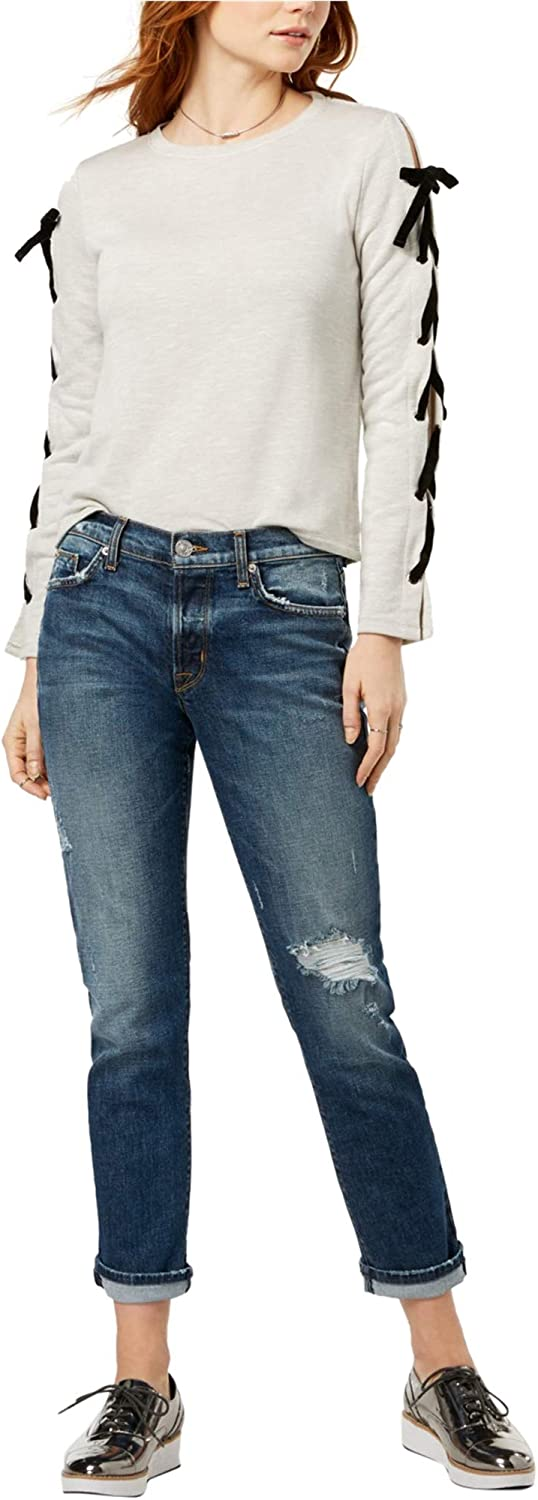 Hudson Womens Riley Ripped Straight Leg Jeans
