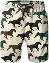 XUJ YOGA Men's Beachwear Surf Trunks Striped Wild Horse Racing Fast Dry with Side Pocket