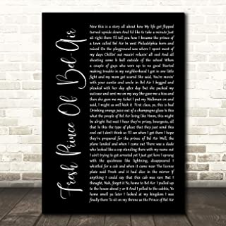 Fresh Prince of Bel-Air Black Script Song Lyric Gift Present Poster Print