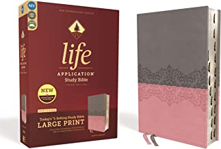 NIV, Life Application Study Bible, Third Edition, Large Print, Leathersoft, Gray/Pink, Red Letter Edition, Thumb Indexed