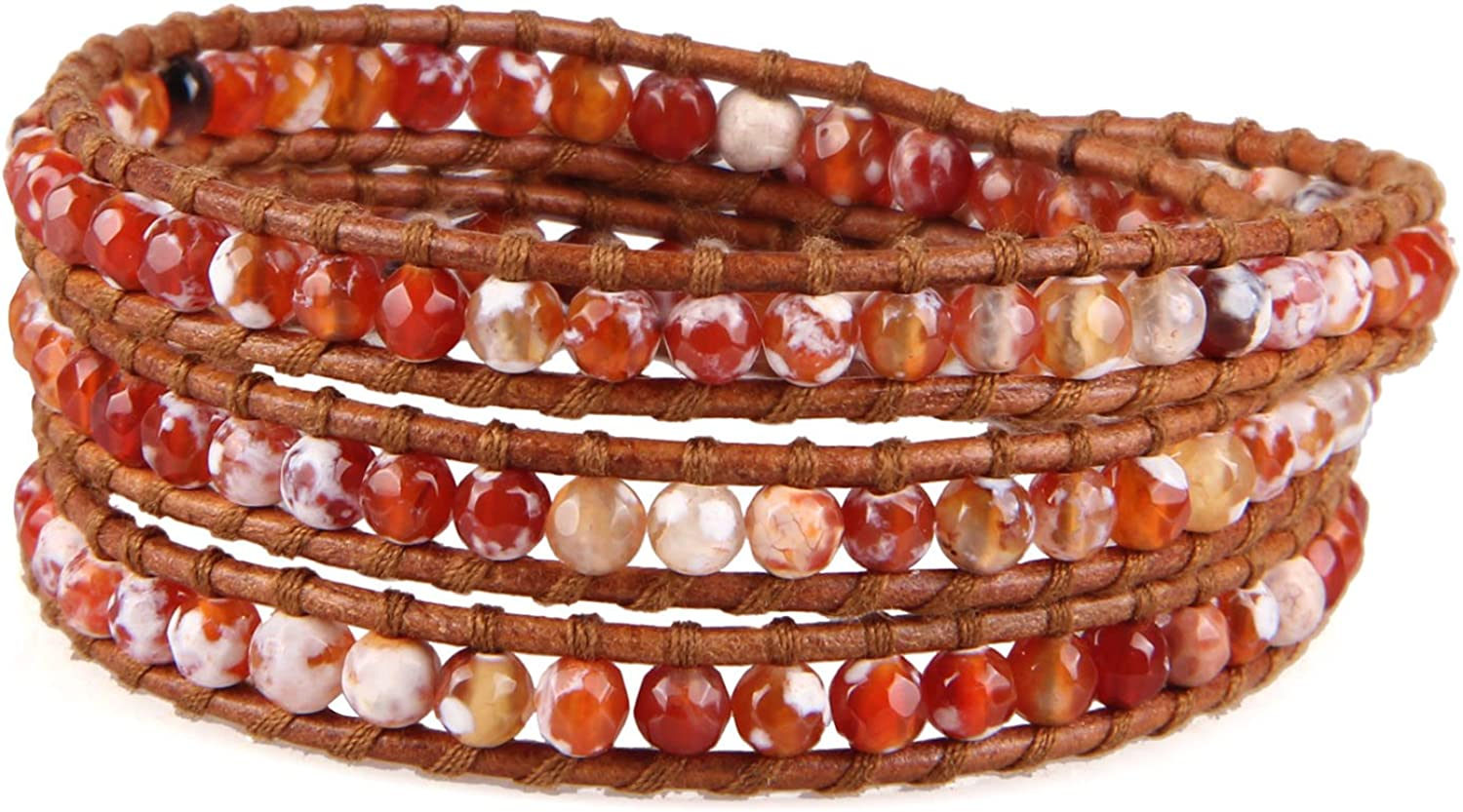 Max 84% OFF KELITCH Created Fire Agate Beads on Genuine Seattle Mall Wrap 3 Brace Leather