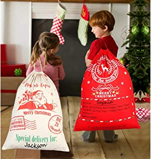 OurWarm 2Pcs Personalized Santa Sacks Bags with Drawstring Large Santa Bags for Kids, 27 x 20 Inch Christmas Canvas Bags for Gifts