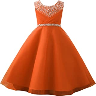 Sunny Girls Orange Cotton A Line Summer Dress Age 7-8 Years Dresses Clothes, Shoes & Accessories