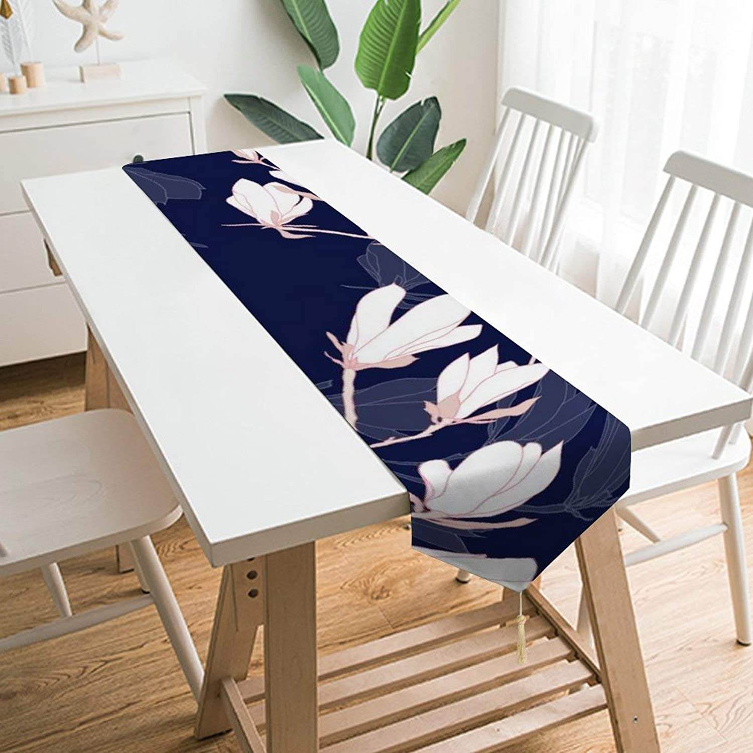 Amazon Com Qsmx Table Decorations Cloth For Everyday Use Table Runners 78 Inch Long For Dinner Parties Events Rectangle Dresser Scarf Christmas Table Runnerwhite Flowers Navy Blue Home Kitchen