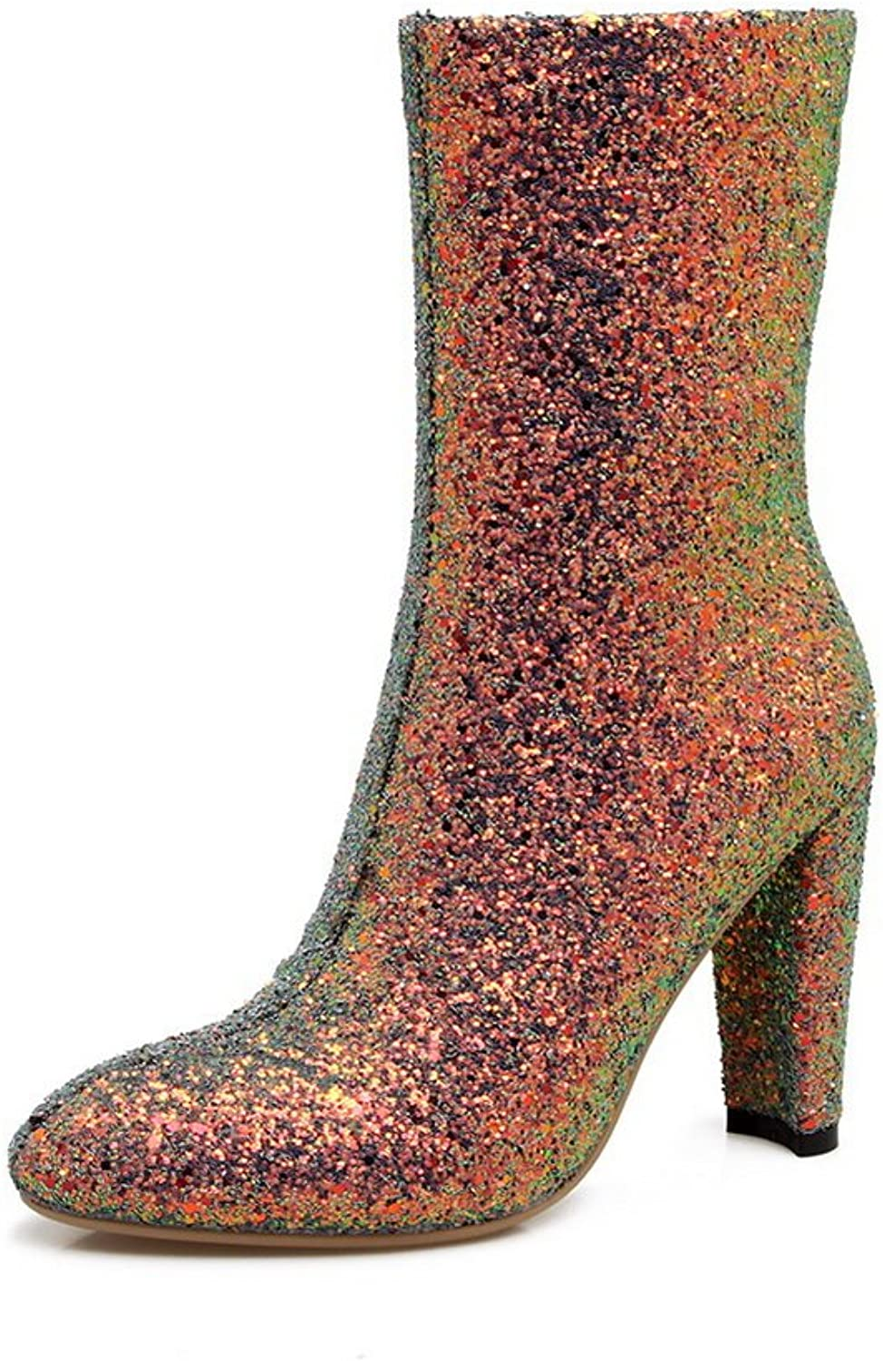 BalaMasa Womens High-Heels Zipper Sequin Novelty Pointed-Toe Multi-colord Sequin Boots ABL09788 - 7 B(M) US