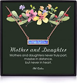OR OLD RUBIN Mother and Daughter Necklace, 14K Gold Plated Bar Created Opal, Mom Necklaces for Women, Mom and Daughter Necklace, Mother Daughter Jewelry, Mother Daughter Necklace, Birthday Gifts