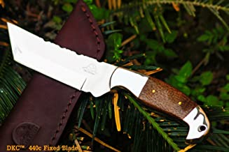 DKC Knives (2 7/18) Sale DKC-42-440c Otter 440c Stainless Steel Tanto Fixed Hunting Knife Mahogany Micarta 9