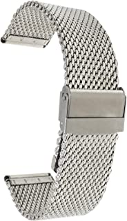Stainless Steel Mesh Watch Band, Thick, Metal Mesh Watch Strap, Adjustable Length - Silver, Gold, Black and Rose Gold Tone - 18mm, 20mm, 22mm, 24mm
