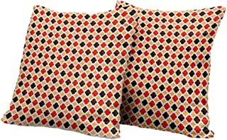 All of better Chaise Lounge Cushion Cover Geometric,Antique Chevron with Victorian Old Fashion Trippy Mosaic Curves,Pale Orange Red Dark Taupe Decorative Pillow Covers 18x18 INCH 2pcs