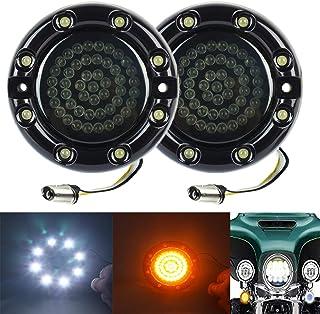 ZYTC 3 1/4' LED Turn Signals w/Running Light Bullet Style Front 1157 LED Turn Signal Kit White Amber for Harley Davidson Black Case