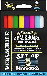 VersaChalk Neon Chalkboard Chalk Markers - Wet Erase Chalk Ink Pens for Chalkboard Signs, Blackboard, Dry Erase Board (3mm Fine Tip)