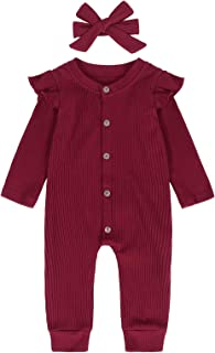 Eledobby Newborn Baby Boys Girls Cute Solid Color Romper Button Hooded Jumpsuit 0-24 Months