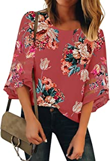 Women's Casual 3/4 Bell Sleeve Blouse V Neck Mesh Panel Loose Top Shirt