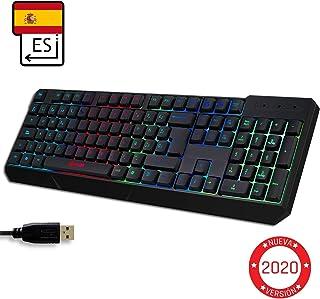 KLIM™ Chroma - Teclado Gaming ESPAÑOL + Teclado USB Ligero, Duradero, Resistente al Agua, ergonómico, silencioso + Teclado Gamer con Cable para PC PS4 Xbox One Mac + Nueva VERSIÓN 2020 + Negro