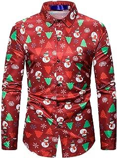 Men's Shirts Christmas Top Autumn Fashion Long Sleeve Business Casual Shirt