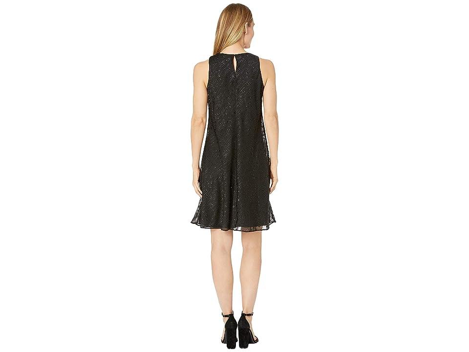 CHAPS Metallic Dot A-Line Dress (Black) Women