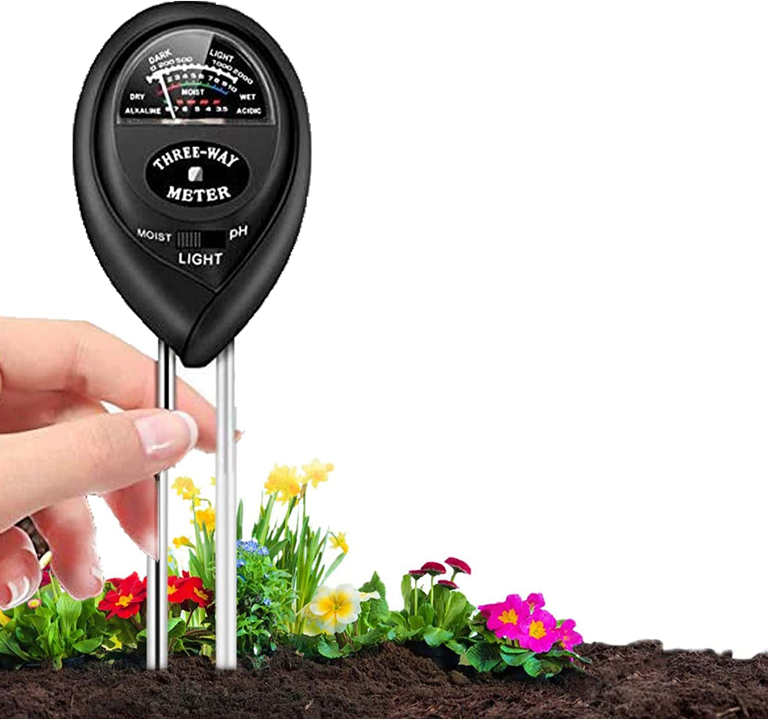 Farm Indoor /& Outdoor No Battery Needed 3-in-1 Soil Moisture//Light//pH Tester and Humidity Meter for Gardening Soil pH Meter Soil Moisture Meter Lawn