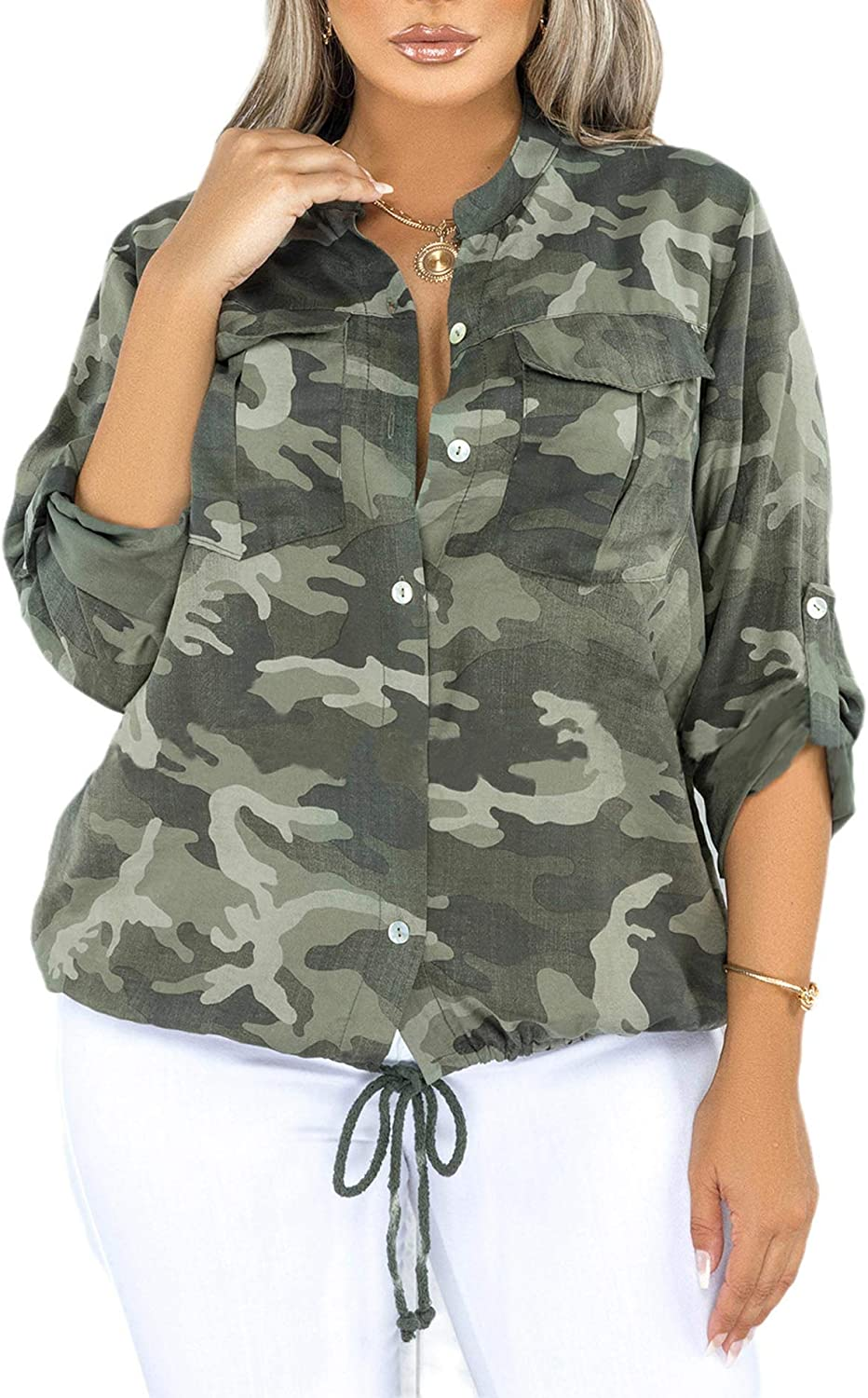 Sexyshine Women's US Plus Size Long Sleeve Stand Collar Camo Button Down Denim Blouse Shirt Loose Jacket Tops
