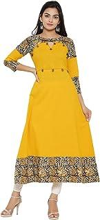 Yash Gallery Women's Plus Size Cotton Blend Kalamkari Print Kaantha Work A-line Kurta (Mustard)