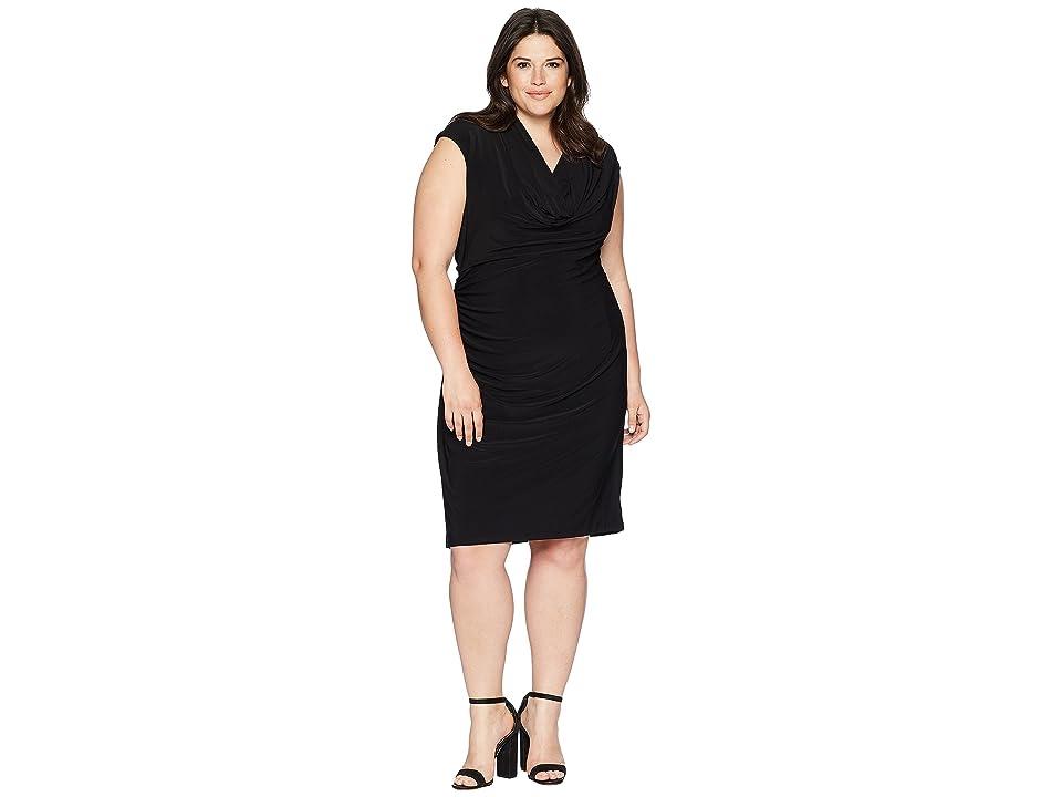 Adrianna Papell Plus Size Matte Jersey Cowl Neck Drape (Black) Women