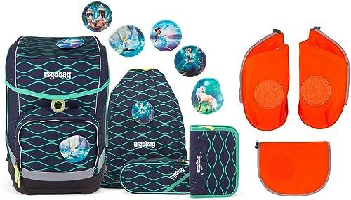 Ergobag Cubo TraumzauB – Schulrucksack Set 6tlg – inkl. Seitentaschen (Orange)