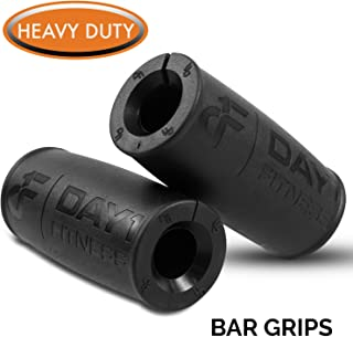 "Thick Barbell Grips, Set of 2 by Day 1 Fitness, 4.7"" x 2.2"" Outer Diameter, 1"" Inner Diameter - Ergonomic, Anti-Slip Rubber Fat Grips for Dumbbells, Kettlebells - Weightlifting Accessories"