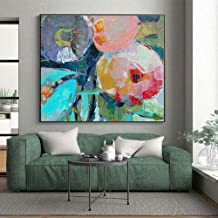 WSNDGWS Large Modern Square Hand-Painted Canvas Wall Art Abstract Oil Painting Canvas Decorative Painting Living Room Decoration Oil Painting