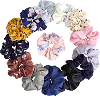 KECUCO 14 Colors Women's Chiffon Flower Hair Scrunchies Hair Bow Chiffon Ponytail Holder, Including 8 Colors Chiffon Flower Hair Scrunchies and 6 Solid Colors Chiffon Hair Ties (STYLE 1)