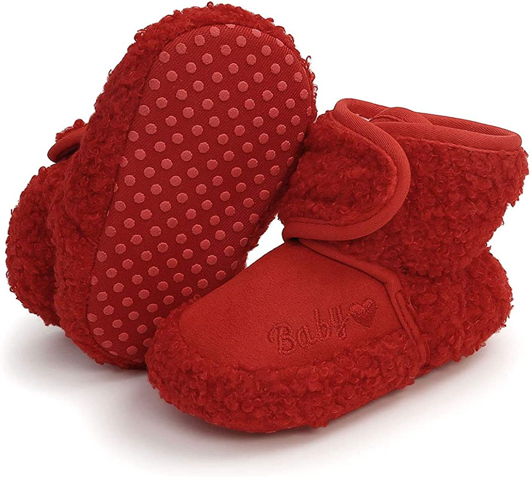 Infant Baby Booties Non Skid Bottom Newborn Socks Winter Warm Baby Slippers Stay On Toddler House Shoes