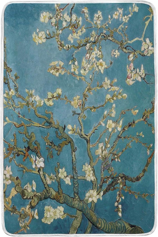 Kcldeci Van Gogh - Couverture en Peluche Douce et Chaude - Motif Floral Bleu - pour canapé, Voyage, Camping - 152 x 229 cm