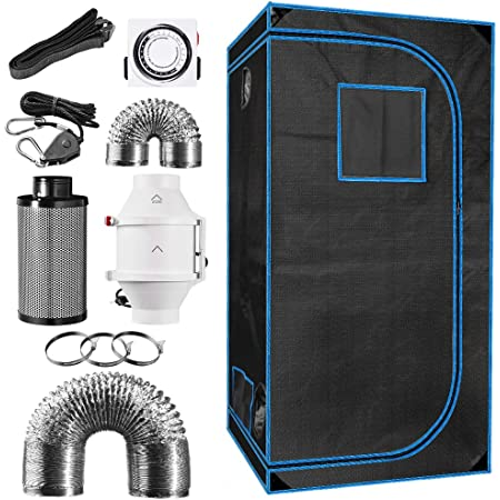 Hangers 36 x 36 x 72 Indoor Plant Grow Tent Complete Kit 24H Timer Hydroponics Tent System with 4 Inline Fan Carbon Filter Ducting Combos