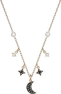 SWAROVSKI Women's Symbolic Moon Necklace, Black, Rose-gold tone plated
