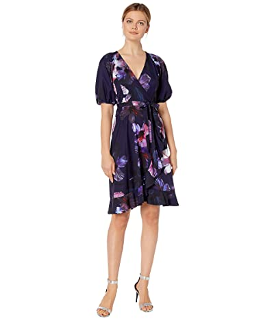Adrianna Papell Dreamy Hibiscus Wrap Dress (Plum Multi) Women