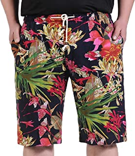 Mogogo Mens Half Pants Beach Printing with Pockets Straight Short Pants